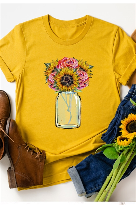 Picture of Leopard Rosebud Bouquet Graphic Tee